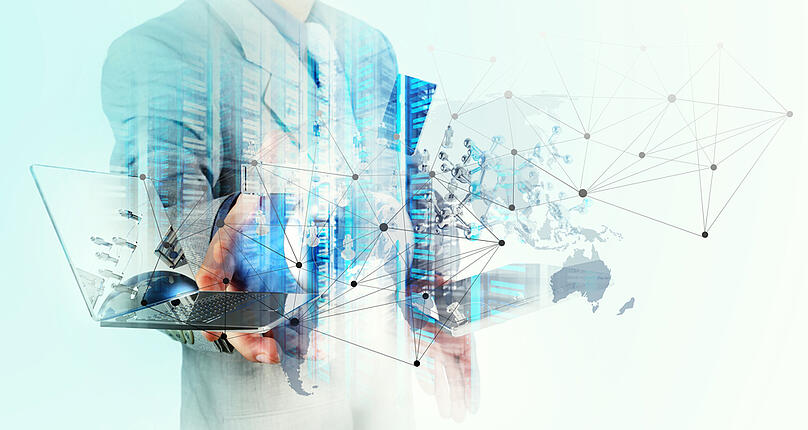 Double exposure of businessman shows modern technology as concept-2