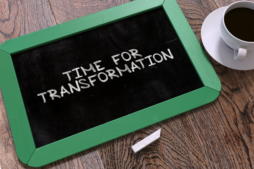 Hand Drawn Time for Transformation Concept  on Small Green Chalkboard. Business Background. Top View. 3d.