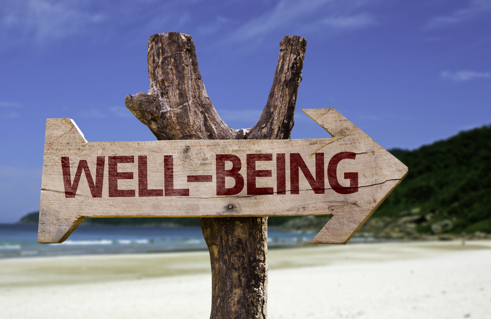 Well-Being wooden sign with a beach on background-1